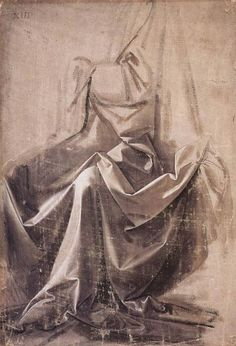 Drapery para uma figura sentada 1, têmpera por Leonardo Da Vinci (1452-1519, Italy)