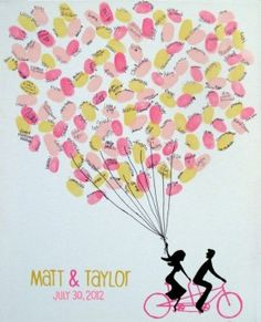 Bride Groom on Tandem Bike Holding Thumbprint Balloons on Stretched/Wrapped Canvas - Wedding Guest Sign in - 18 x 24 via Etsy Wedding Bells, Diy Wedding, Wedding Gifts, Dream Wedding, Wedding Ideas, Wedding Photos, Guest Book Sign, Wedding Guest Book, Guest Book Tree