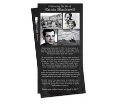 Black and White Funeral Program: Memorial Service Card Memorial Cards, Funeral Memorial, Printable Invitations, Chalkboard Printable, Verbatim, High Resolution Photos, Stress Free, Give It To Me, At Least