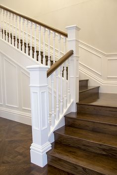 Intrim provided timber mouldings to create a classic hamptons style interior including skirting, architraves & mouldings to complete this flawless interior. There is one way to create a country inspired Hamptons style residence - and this is it! Timber Staircase, Staircase Railings, Wood Stairs, Bannister, Staircase Molding, Craftsman Staircase, Stairways, Hamptons Style Homes, Hamptons House
