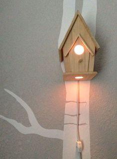 If there's a woodland theme. Bird House Night Light Woodland Nursery by TheTinyAcornByJLee Nursery Themes, Nursery Room, Girl Nursery, Girl Room, Nursery Decor, Nursery Ideas, Bedroom Themes, Bedrooms, Room Decor
