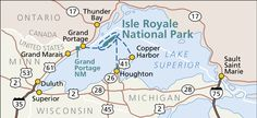 Regional map of Isle Royale National Park in relation to Lake Superior, Michigan, and Minnesota. Map Of Michigan, Lake Michigan Beaches, Michigan Travel, Hawaii Volcanoes National Park, Volcano National Park, National Parks, Grand Rapids Map, Great Lakes Cruises, Great American Road Trip