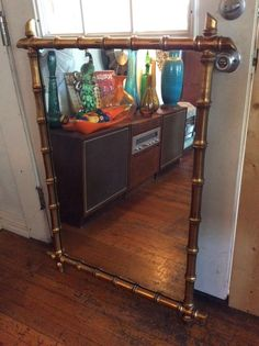 Vintage faux bamboo frame framed Hollywood regency mirror   Home & Garden, Home Décor, Mirrors   eBay!