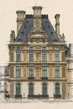 Detail of the facade of the prestigious Louvre Museum, Paris. - Detail of the facade of the prestigious Louvre Museum, Paris. Architecture Classique, Architecture Antique, Classic Architecture, Architecture Drawings, Historical Architecture, Architecture Details, Interior Architecture, Palais Des Tuileries, Tuileries Paris