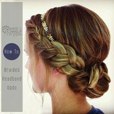 How-to-do: Braided updo with headband... hmmm kanskje noe sånt? (Skal se videoen når jeg kommer hjem)