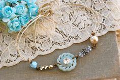 Something blue. vintage beaded, friendship,bridesmaid gift,string bracelet. Tiedupmemories