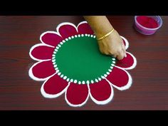 Beautiful simple freehand rangoli for thaipusam 2019 - colour kolam with out dots - best muggulu Rangoli Designs Latest, Rangoli Designs Flower, Rangoli Border Designs, Rangoli Designs Diwali, Rangoli Designs With Dots, Rangoli Designs Images, Flower Rangoli, Diwali Special Rangoli Design, Free Hand Rangoli Design