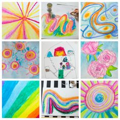 Oil Pastel Painting with Kids - Finished Artworks
