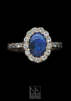 RING diamonds , opal , white gold - GIOIELLI DALBEN - italian fine jewelry