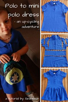 Polo to mini polo dress upcycle tutorial - Kindermode Sewing For Kids, Baby Sewing, Sewing Clothes, Diy Clothes, Dress Sewing, Polo Shirt Women, Polo Shirts, Dress Shirts, Diy Vetement
