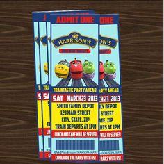 Chuggington Ticket party invitations