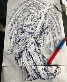 Sketch Tattoo Design, Wing Tattoo Designs, Angel Tattoo Designs, Tattoo Sleeve Designs, Tattoo Sketches, Tattoo Drawings, Sleeve Tattoos, Religious Tattoos, Religious Art
