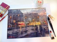 Tatiana Borischenko | Quai Saint-Michel,PARIS | Saints, Watercolor, Paris, Instagram Posts, Sketch, Painting, Santos, Sketch Drawing, Watercolour