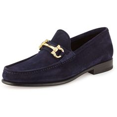 Salvatore Ferragamo Mason Suede Gancini Loafer ($680) ❤ liked on Polyvore featuring men's fashion, men's shoes, men's loafers and blue