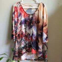 NWT Gorgeous Print Layered Blouse XL Women's size XL. New with attached tags. Retail $43.99. Price firm. Tops Blouses