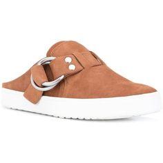 Derek Lam 10 Crosby slip-on buckle detail mules ($225) ❤ liked on Polyvore featuring shoes, slip on mules, leather slip on shoes, genuine leather shoes, leather mules and 10 crosby derek lam