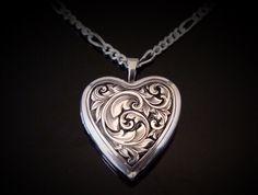 Hand Engraved Sterling Silver Heart Locket by JelliesJewelry