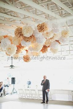 Keep It Neutral 4 tissue paper pompoms and 3 by PomPomDelightNmore, $28.75