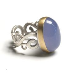 NATASHA WOZNIAK - Chalcedony Block Scroll Ring