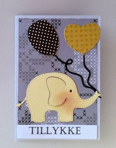 Small card / tag with elephant & balloons Rayher elephant die set - birthday card for kids #balloon - JKE