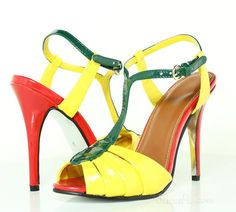 Fashionable Yellow Stiletto Heels Leather Upper Summer Women Shoes