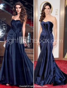 TS Couture Formal Evening Dress - Dark Navy Plus Sizes / Petite Sheath/Column Sweetheart Sweep/Brush Train Satin Best Evening Dresses, Evening Dresses Plus Size, Formal Gowns, Strapless Dress Formal, Prom Dresses, Tunic Dresses, Plus Size Tunic Dress, Dress Over Pants, Mother Of The Bride Suits