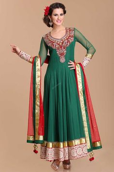 Green Net, ready to wear anarkali churidar suit. Neck and daman/hem embroidered with zircon and crystal work.  Asymmetrical neck, Below knee length, full sleeves kameez.   Maroon shantoon churidar.   Maroon net dupatta with lace border with work and latkan.  http://www.andaazfashion.us/salwar-kameez/anarkali-suits/work/embroidered-anarkali-suits