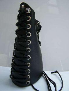 Real Leather Gauntlet Wristband Gothic Black Death Metal Emo Punk Rock Black | eBay
