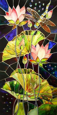 Water Lilies & Dragonfly Stained Glass Window Panel ~ unknown Artist .....