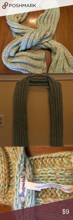 Light turquoise and grey knit scarf. It is a long soft scarf that is knit. This scarf is not and infinity scarf. It comes past the hip on the average person. Can be tied in multiple ways to support multiple fashions. Aeropostale Accessories Scarves & Wraps
