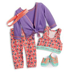 Cheer Practice Outfit for Dolls American Girl Outfits, Ropa American Girl, American Girl Doll Room, American Girl Crafts, American Doll Clothes, American Girl Stuff, American Girl Doll Gymnastics, American Girl Furniture, Our Generation Doll Accessories