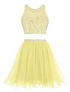 Tideclothes Short Beading Prom Dress Two Pieces Tulle Homecoming Dress Yellow US2 -- Be sure to check out this awesome product. (This is an affiliate link and I receive a commission for the sales)