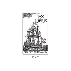 This 3 masted schooner Ex Libris Bookplate rubber stamp can be customized with your name, and it measures approximately 2 X 3. This nautical