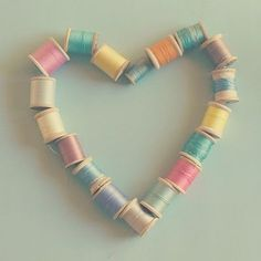 crafts with thread spools | Super cute heart, made of spools of thread