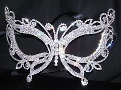 Details about Silver Clear Rhinestone Masquerade Butterfly M.- Details about Silver Clear Rhinestone Masquerade Butterfly Mask Mardi Gras Party /Black Ribbon - Mascarade Mask, Silver Masquerade Mask, Sweet 16 Masquerade, Masquerade Wedding, Masquerade Party Outfit, Masquerade Ball Dresses, Butterfly Mask, Mardi Gras Party, Beautiful Mask