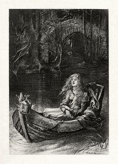 """""""The Lady of Shalott"""" is a Victorian ballad by the English poet Alfred, Lord Tennyson The poem recasts Arthurian subject matter, the legend of Elaine of Astolat. Tennyson Poems, Illusion, Mt Lady, King Arthur Legend, The Lady Of Shalott, Alfred Lord Tennyson, Green Knight, English Poets, Danse Macabre"""