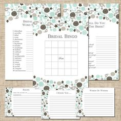 Printable Bridal Shower Party Games, DIY, Made To Match Wedding Paper Divas Garden Gowned Sea Glass, Bingo, Note Card, Recipe Cards
