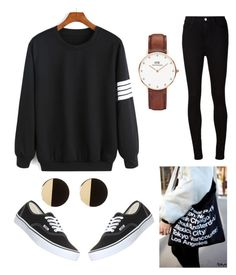 """""""black #1"""" by irdinamahirah on Polyvore featuring Vans, Daniel Wellington, American Apparel and AG Adriano Goldschmied"""