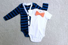 Cardigan and Bow Tie Onesie Set - Trendy Baby Boy - Blue Stripes with Orange Gingham
