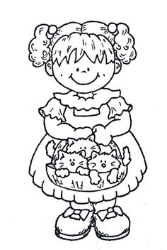 Girl Free Coloring Pages, Coloring Books, Printable Coloring Sheets, Cute Clipart, Art File, Digi Stamps, Drawing People, Line Drawing, Card Making