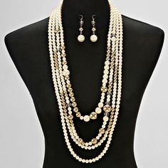 Gold and Cream Pearl and Metallic Bead Necklace Set