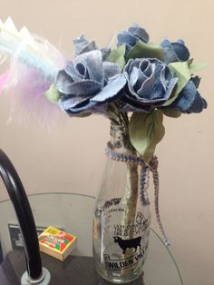 Denim roses I made for mum Roses, Home Appliances, Denim, Crafts, House Appliances, Manualidades, Pink, Rose, Kitchen Appliances
