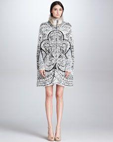 Emilio Pucci Fur-Trim Graphic-Print Cape & Long-Sleeve Dress