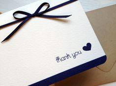Navy Blue Wedding Thank You Card - Navy Satin Ribbon - Set of 18. $20.00, via Etsy.