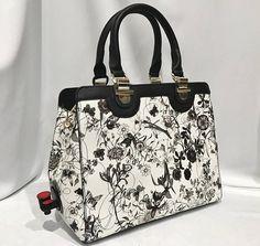 9969bd3de Charming Wine Purse with Dispenser - Black & White Floral Beverage Tote Bag