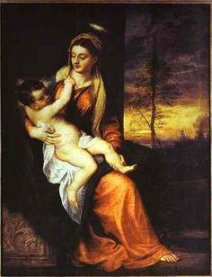 Virgen con el Niño en un paisaje de la tarde, 1562-1565 - Tiziano