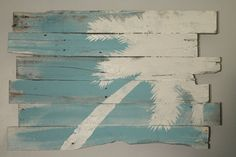 Beach and Palm Tree Reclaimed Wood Rt Lean 32 x by WoodburyCreek, $55.00