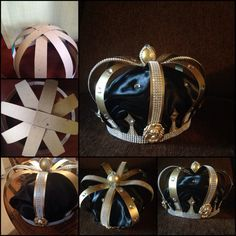 Handmade crown with cardboard paper, tread, hot glue, fabric, and with plastic and metal gems...