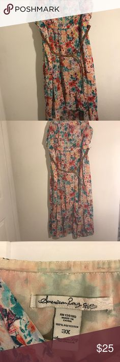America Rag Floral Strapless Dress American Rag Floral strapless dress with asymmetrical hem and braided belt. American Rag Dresses Strapless