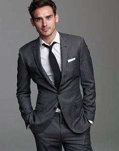 Groom and groomsmen: dark gray suit, white shirt and black tie Charcoal Gray Suit, Dark Gray Suit, Black Tux, Grey Tux, Grey Suits, Dark Grey, Groom Attire, Groom And Groomsmen, Groom Wear